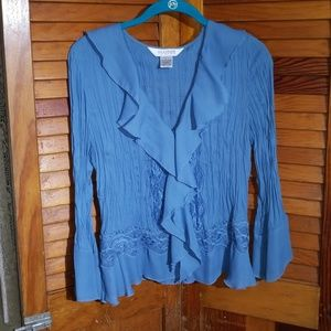Allison Taylor blue cover blouse with lace